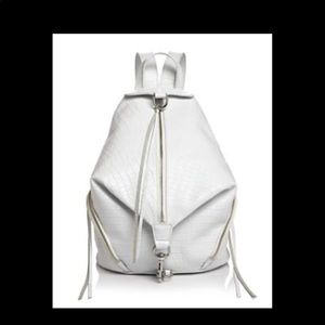 $398 Rebecca Minkoff White Croc leather backpack
